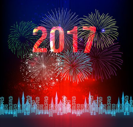 55019197 - happy new year 2017 with fireworks background